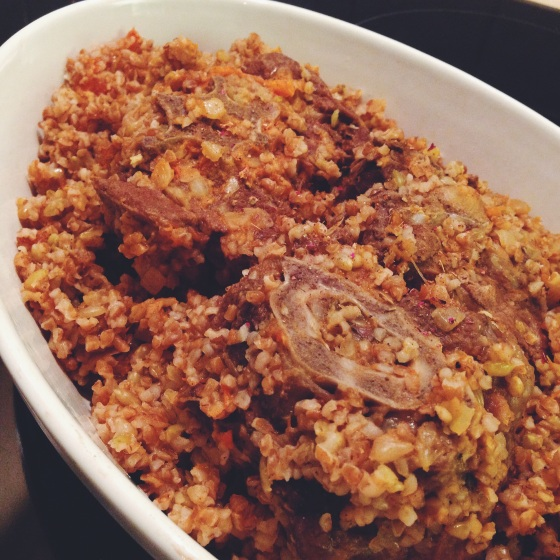 Bulgur with Lamb and Tomato sauce